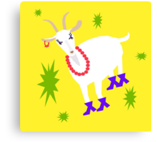 Goat on the Yellow Background. Neon Canvas Print