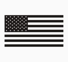 American Flag, STARS & STRIPES, USA, America, Black on white by TOM HILL - Designer