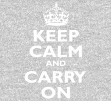 Keep Calm & Carry On, Be British! Blighty, UK, United Kingdom, white on black Kids Clothes