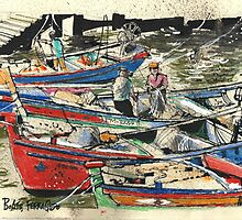Fishing Boats, Ferragudo, Portugal by MrCreator