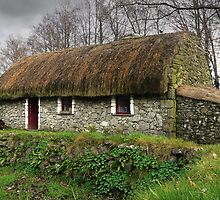Old tatched Irish country famine cottage by Donny Ocleirgh
