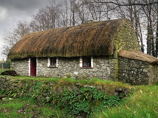 Old tatched irish country famine cottage by donny ocleirgh redbubble for Country garden designs ireland