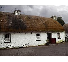 Old tatched and whitewashed Irish country cottage Photographic Print
