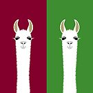LLAMA PORTRAITS - RED & GREEN by Jean Gregory  Evans