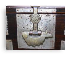 Antique Korean Bed Linens Chest - Fish Shaped Lock Canvas Print