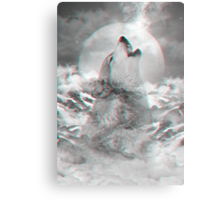 Maybe the Wolf Is In Love with the Moon v.2 (Actual 3D Effect) Metal Print