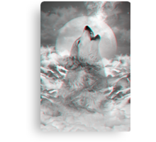 Maybe the Wolf Is In Love with the Moon v.2 (Actual 3D Effect) Canvas Print