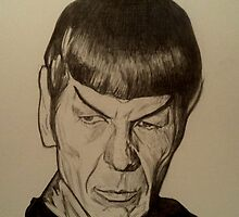 Spock, Leonard Nimoy drawing by RobCrandall