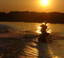 Knee Boarding at Sunset by JulieTyler