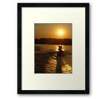 Knee Boarding at Sunset Framed Print