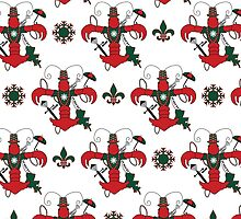 Christmas Crawfish Fleur de Lis Pattern by StudioBlack