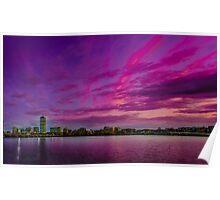 Sun dusk over Boston Poster