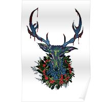 Deck the RavenStag with Boughs of Holly Poster