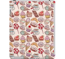Hand drawn confectionery seamless pattern croissant Cupcake candy marshmallow ice cream cake donut and coffee iPad Case/Skin
