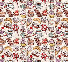 Hand drawn confectionery seamless pattern croissant Cupcake candy marshmallow ice cream cake donut and coffee by EkaterinaP