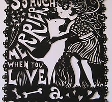 Bull Terrier Paper Cut by threebrownhares