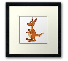 Adorable cartoon kangaroo with cub Framed Print