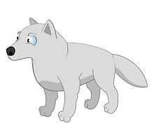 Attentive cartoon polar wolf by berlinrob