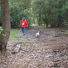 Woman in red coat and little dog by jackgreig