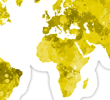 World map in watercolor yellow Sticker