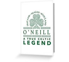 Celtic-Inspired 'O'Neill, A True Celtic Legend' Last Name TShirt, Accessories and Gifts Greeting Card