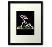 American War Flag, USA, Raising the Colours, Iwo Jima, America, WW2, WWII Framed Print