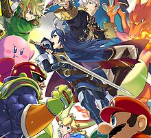 Super Smash Bros - Robin, Lucina, Megaman, Mario, Luigi, Kirby, Link, Charizard, Pikachu by nekyobot