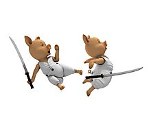 Katana Fight Between Two Piglets Photographic Print