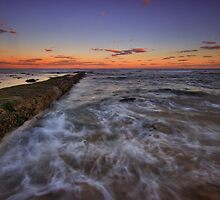 Bar Beach Breakwall at Dusk by Mark Snelson