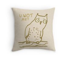 Confused Owl Throw Pillow