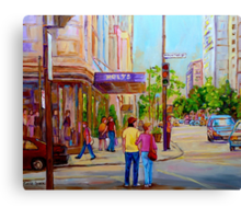 PAINTINGS OF MONTREAL STREETS HOLT RENFREW SHERBROOKE STREET Canvas Print