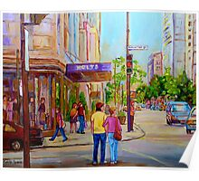 PAINTINGS OF MONTREAL STREETS HOLT RENFREW SHERBROOKE STREET Poster