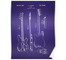 Fender Bass Guitar Patent-1953-Blueprint Poster