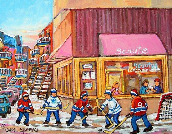 Hockey Game Near Beauty's Restaurant by Carole  Spandau