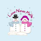 Love Never Melts Snowmen T-Shirts, Stickers, Greeting Cards, Posters, Prints, Pillow, tote Bag, Phone Case, Tablet Case, Coffee Mug & Travel Mug by Linda Allan