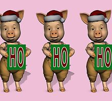 HoHoHo Three Cute Piglets Are Santa's Helper by Mythos57