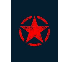 Star Stencil Vintage Jeep Decal Grunge Style Photographic Print