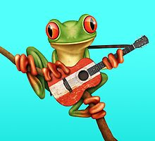 Tree Frog Playing Austrian Guitar by Jeff Bartels