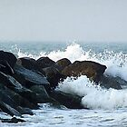 Ocean Waves Hitting Rocks by ahbdigital