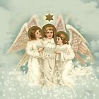 Vintage Christmas Angels Greeting Card by Melissa Park