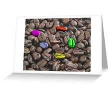 colorful coffee beans Greeting Card