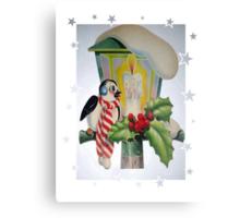 Winter Wonderland Bird Sitting On Vintage Street Lantern Metal Print