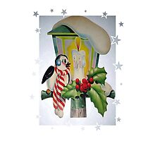 Winter Wonderland Bird Sitting On Vintage Street Lantern Photographic Print