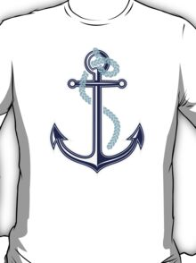 White and blue anchor with rope T-Shirt