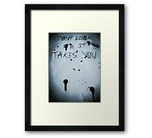 Slender man- Dont look or it takes you Framed Print