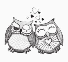 Cute black and white owl couple Kids Clothes