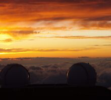 Keck Telescopes Above Clouds by John Leeman
