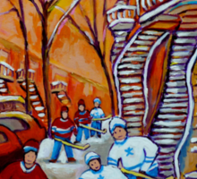 CANADIAN PAINTINGS WINTER SCENERY HOCKEY ART NEAR WINDING STAIRCASES CAROLE SPANDAU Sticker