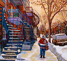 CANADIAN URBAN SCENES CANADIAN WINTER CITY ART PAINTINGS CAROLE SPANDAU by Carole  Spandau
