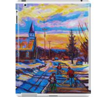 CANADIAN LANDSCAPE HOCKEY ART PAINTINGS WINTER SCENES OF CANADA CAROLE SPANDAU iPad Case/Skin